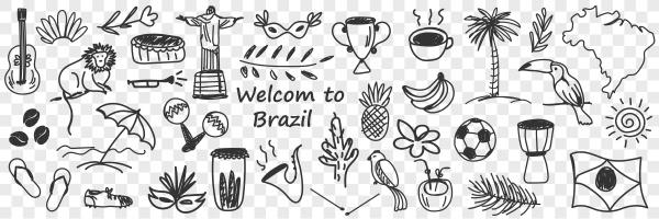 brazilian traditional symbols doodle set