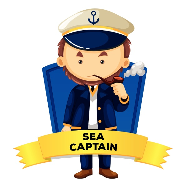 occupation wordcard with sea captain