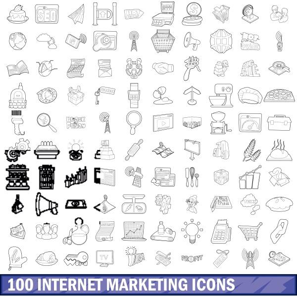 100 internet marketing icons set outline
