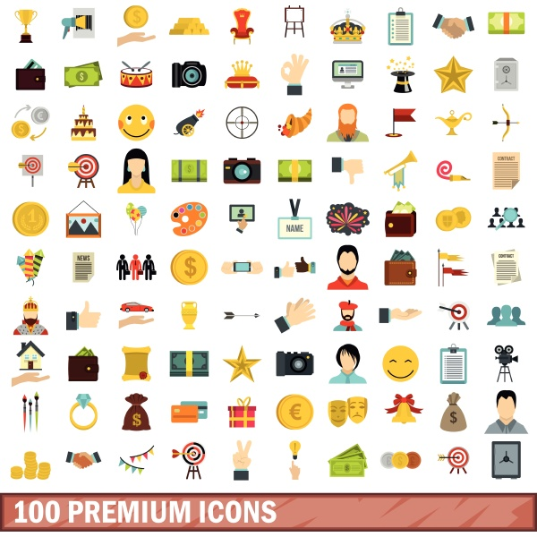 100 premium icons set flat style