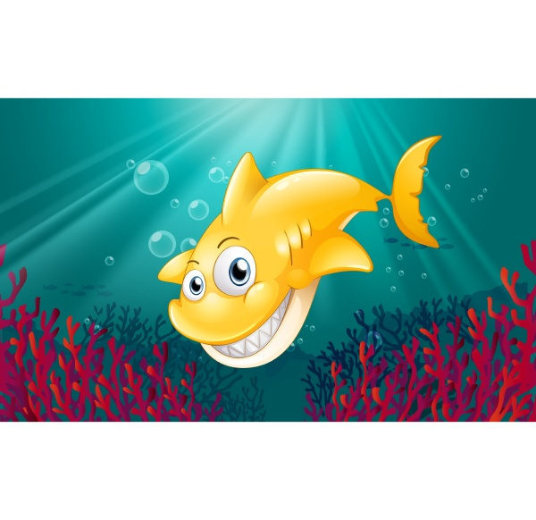 a yellow shark smiling under the