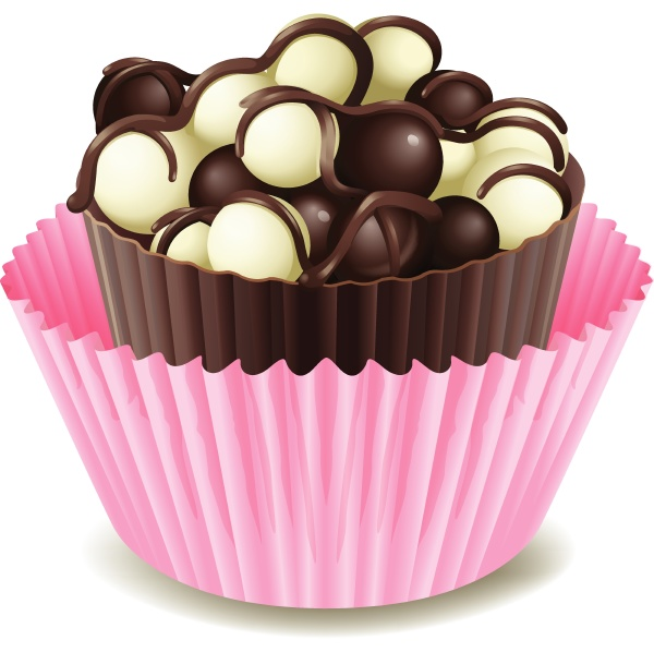 chocolates in a pink cup