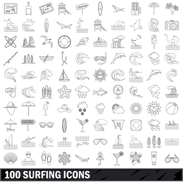 100 surfing icons set outline style