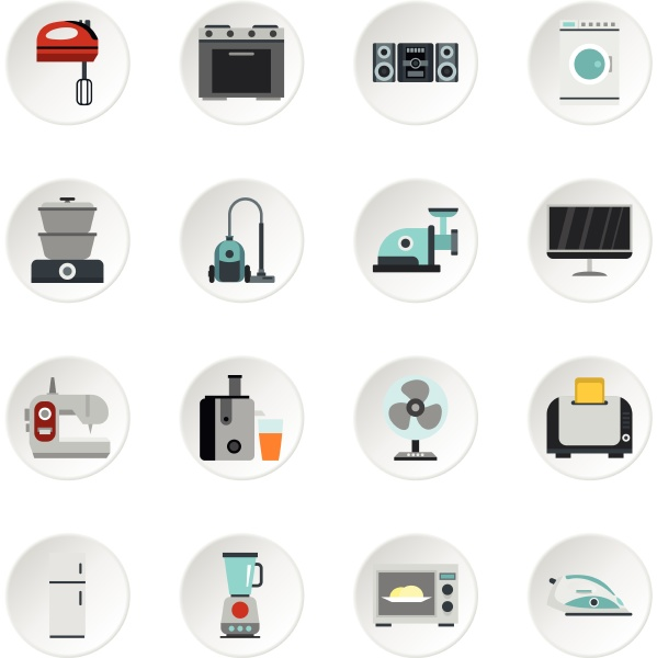 household appliance icons set flat style