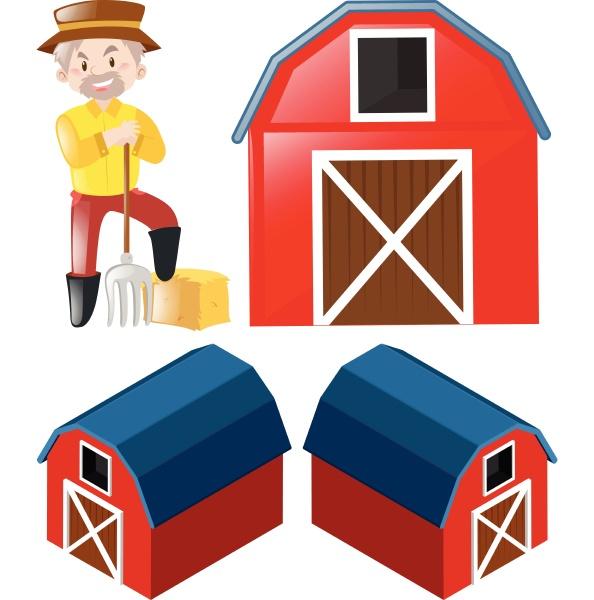 farmer and three angles of barns