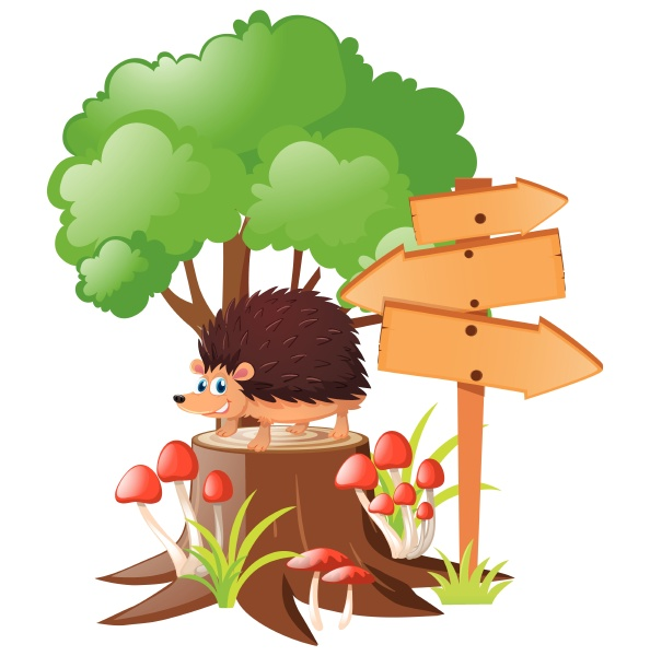 wooden signs and hedgehog on stump