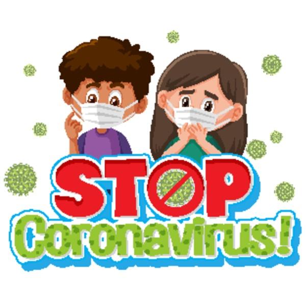 coronavirus poster design with sick children