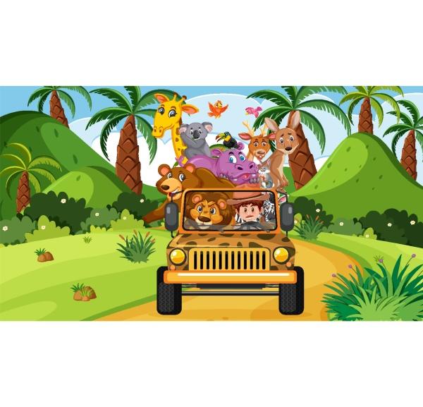 safari scene with wild animals in