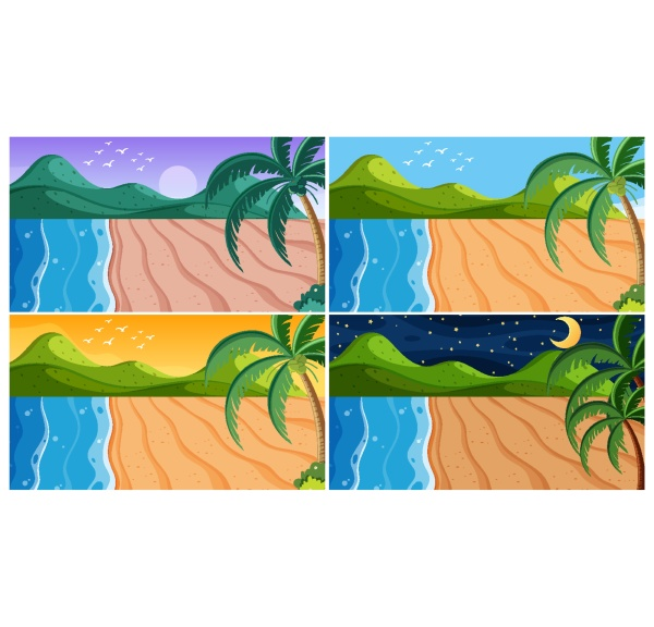 background scene with beaches at different