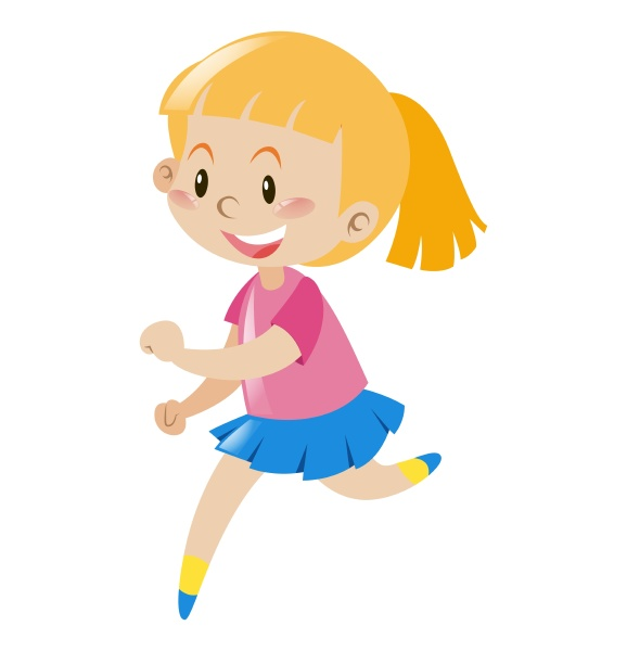 girl with blond hair running