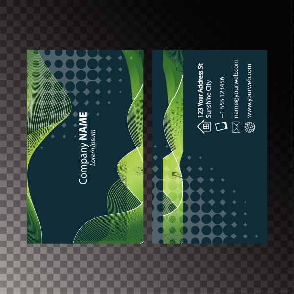 businesscard template with green wavy lines