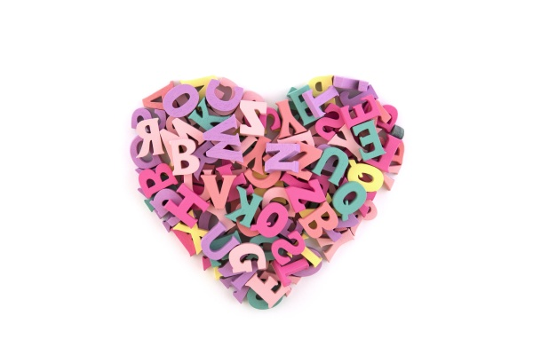 heart shape from colorful letters