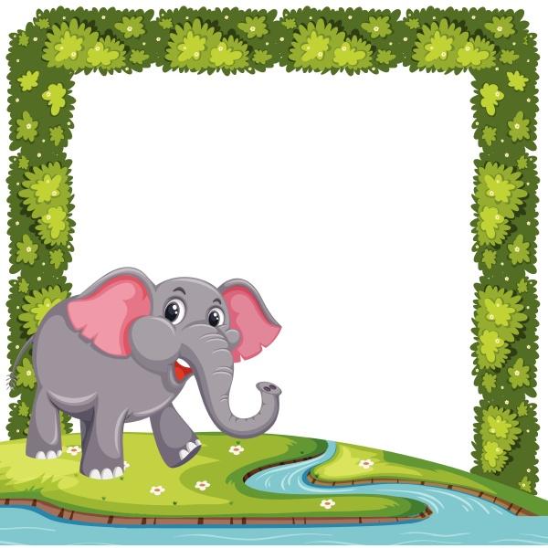 an elephant on plant frame