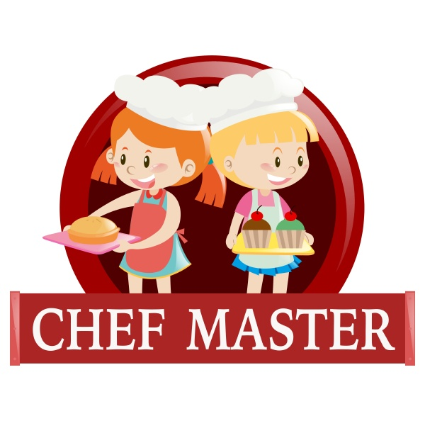 label with two junior chefs