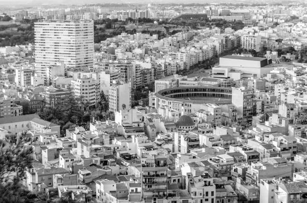 alicante city view black and white