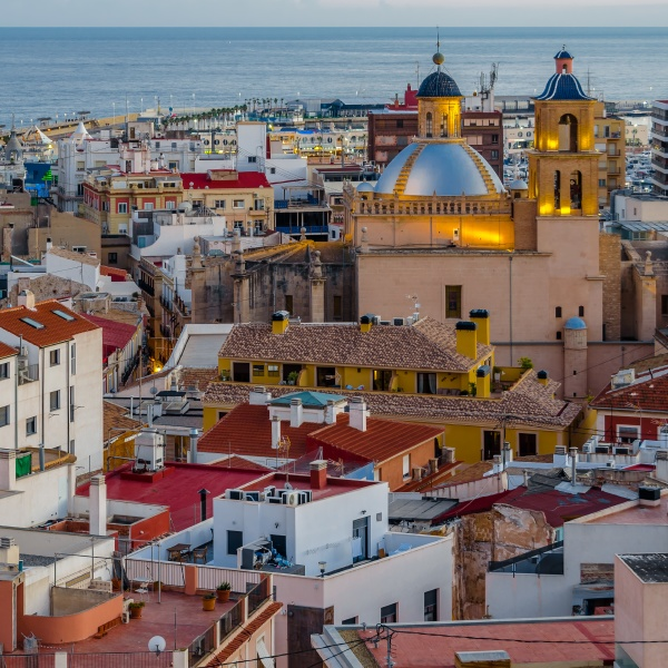alicante city view at dusk spain