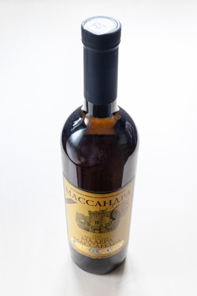 closed bottle with fortified wine massandra