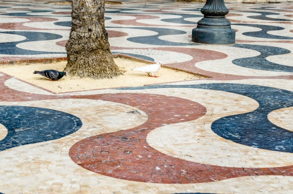 colorful pavement detail in alicante spain