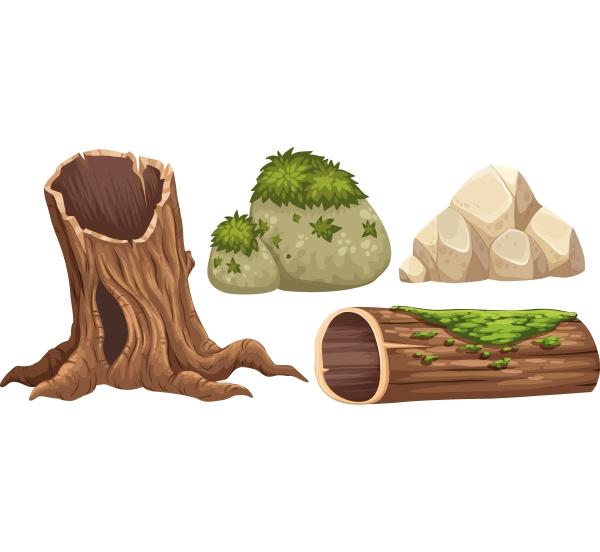 log and rocks with moss on