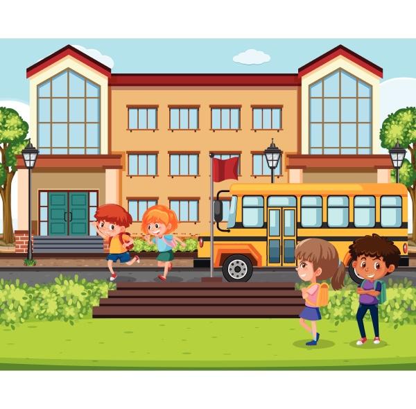 children infront of school scene