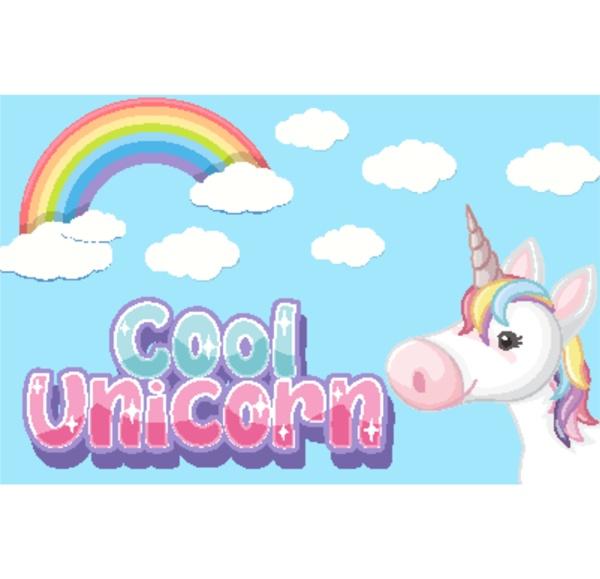 cool unicorn logo in pastel color