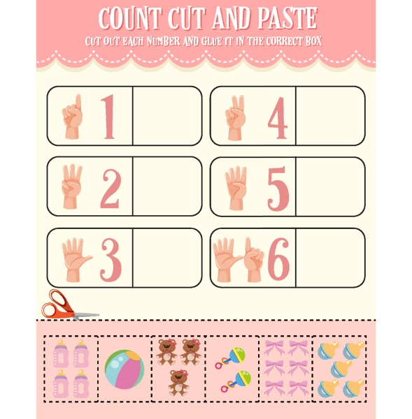 count cut and paste math worksheet