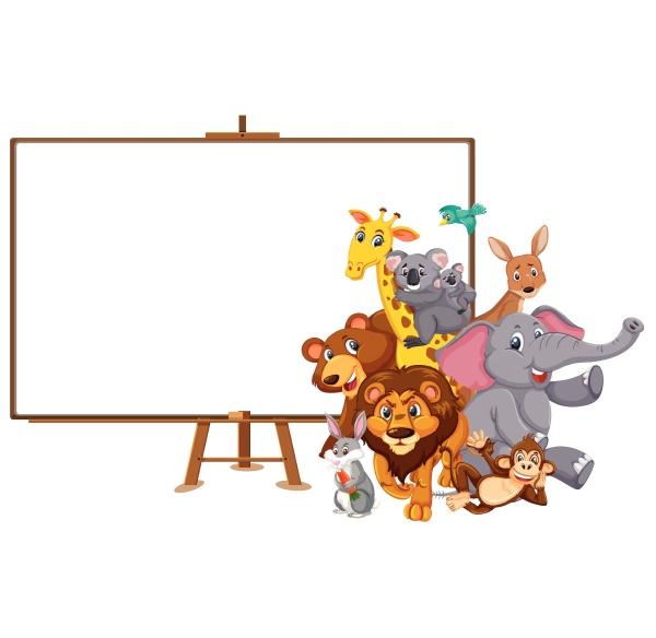 wild animals cartoon character and blank