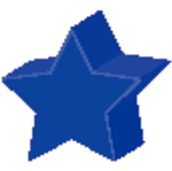 geometric shape of star in blue
