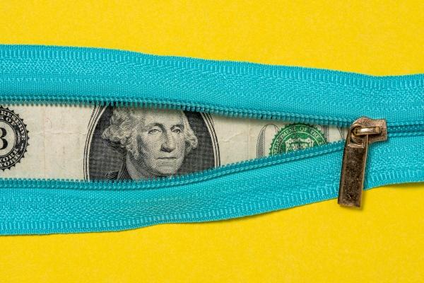 one dollar bill with zipper on