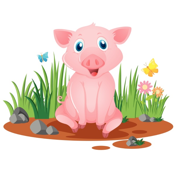 little pig sitting in muddy puddle