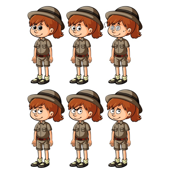 girl in safari outift with different