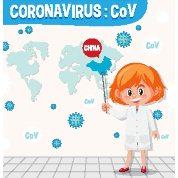 coronavirus chart with scientist and world