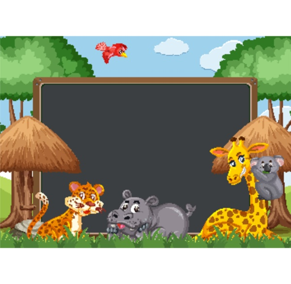 blackboard template design with wild animals