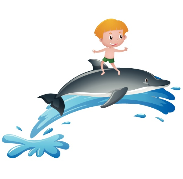 boy standing on dolphin back