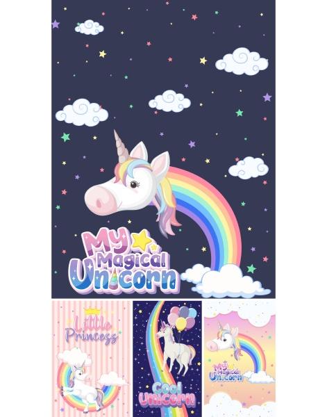 cute unicorn banner on pastel background