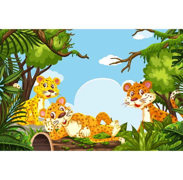 cheetahs in jungle scene