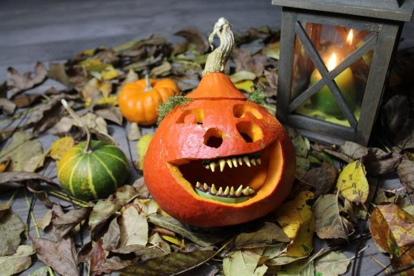 funny pumpkin and a lantern
