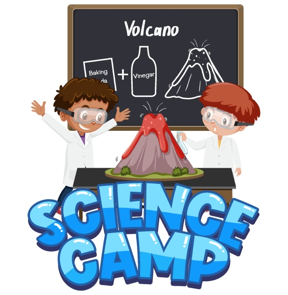 science camp logo and children with