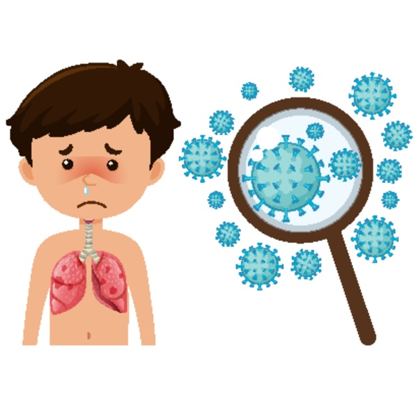 sick boy from coronavirus with zoom