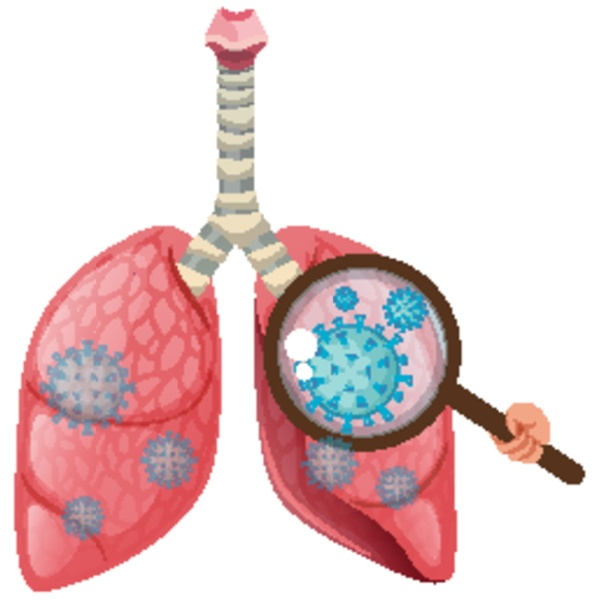 human lungs with coronavirus cell spreading