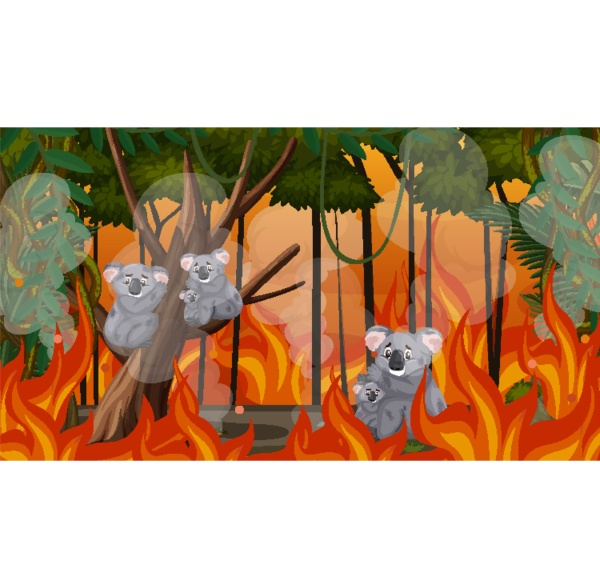 scene with big wildfire with animal