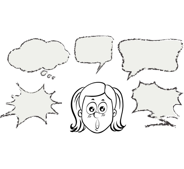 girl with five speech bubble templates