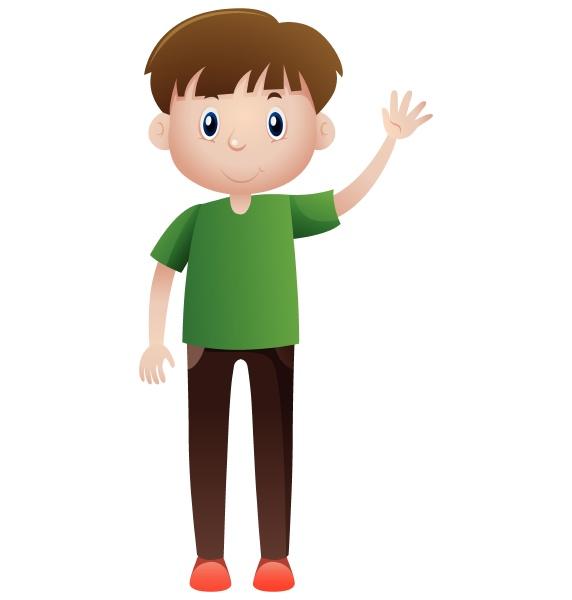 man in green shirt waving