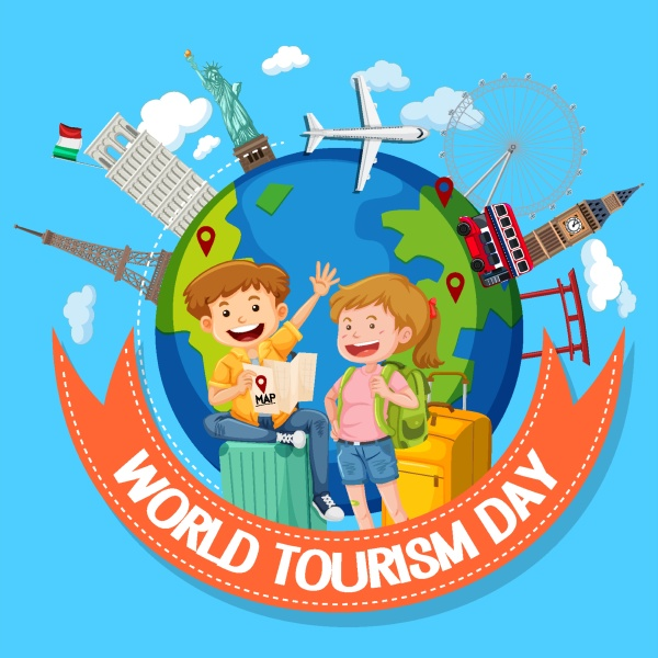 world tourism day logo with couple