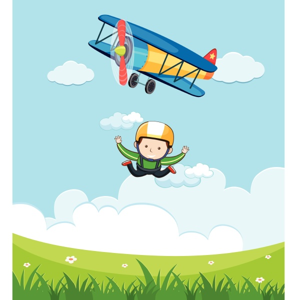 a man free fall skydiving