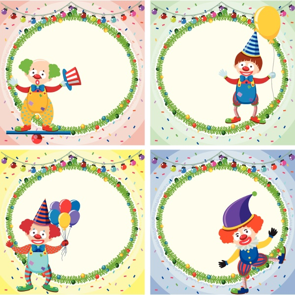 four border templates with happy clowns