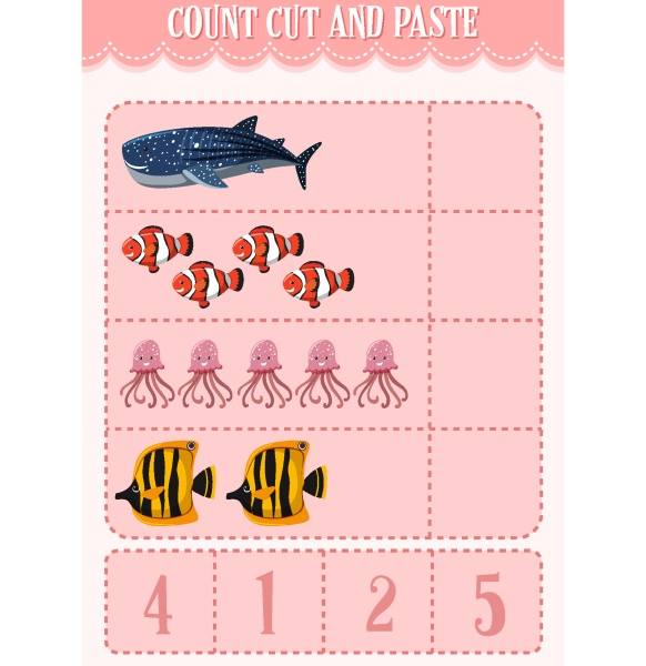 count cut and paste maths worksheet