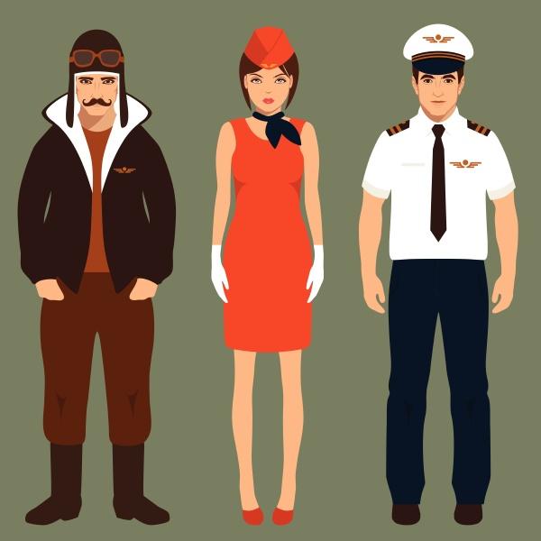 pilot and stewardess airplane