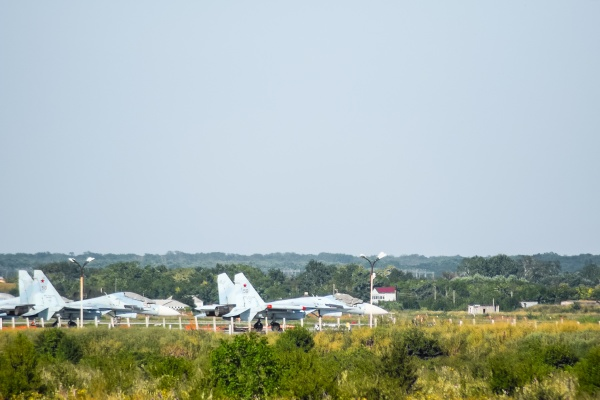 military airfield and parking lots of
