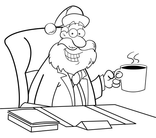 black and white illustration of santa